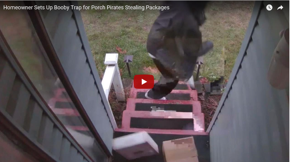 Homeowner Sets Up Booby Trap for Porch Pirates Stealing Packages